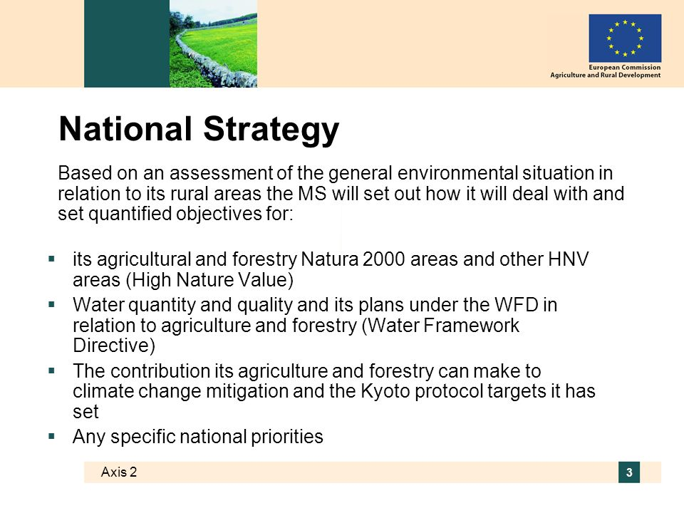 3 National Strategy its agricultural and forestry Natura 2000 areas and other HNV areas (High Nature Value) Water quantity and quality and its plans under the WFD in relation to agriculture and forestry (Water Framework Directive) The contribution its agriculture and forestry can make to climate change mitigation and the Kyoto protocol targets it has set Any specific national priorities Based on an assessment of the general environmental situation in relation to its rural areas the MS will set out how it will deal with and set quantified objectives for: