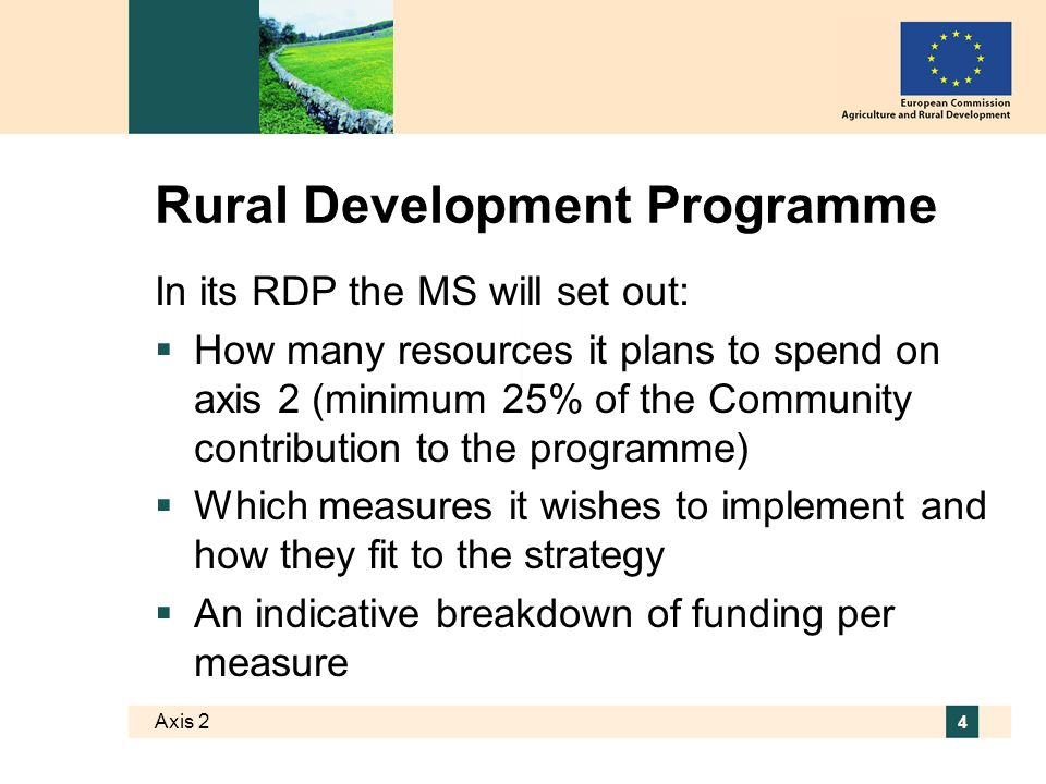 Axis 2 5 The toolbox for axis 2 Two blocks of measures targeting sustainable use of: agricultural land LFA; Natura 2000 and WFD; AE; animal welfare; non- productive investments forestry land Afforestation; agro-forestry; Natura 2000; forest- environment; restoring forestry potential/prevention; non-productive investments