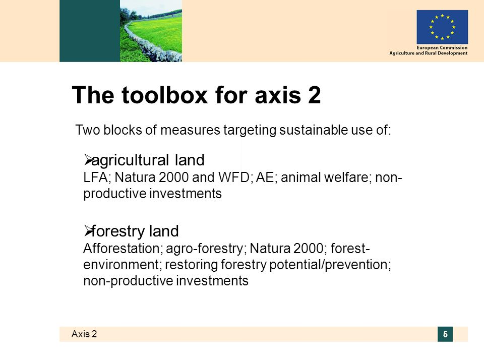 Axis 2 16 Restoring forestry potential/prevention For forests damaged by natural disasters and fire Preventive actions against fires only for medium and high fire risk forests