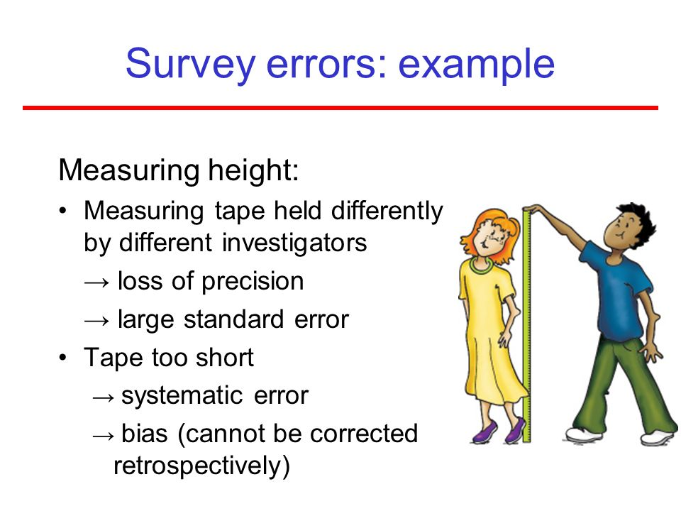 Survey errors: example Measuring height: Measuring tape held differently by different investigators loss of precision large standard error Tape too sh