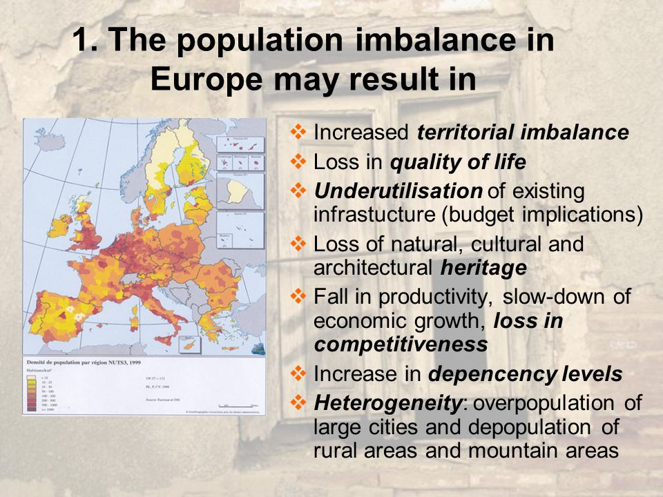 1. The population imbalance in Europe may result in Increased territorial imbalance Loss in quality of life Underutilisation of existing infrastucture