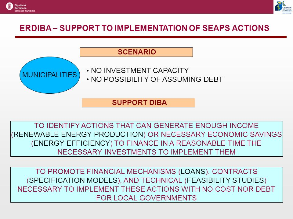 ERDIBA – SUPPORT TO IMPLEMENTATION OF SEAPS ACTIONS TO IDENTIFY ACTIONS THAT CAN GENERATE ENOUGH INCOME (RENEWABLE ENERGY PRODUCTION) OR NECESSARY ECONOMIC SAVINGS (ENERGY EFFICIENCY) TO FINANCE IN A REASONABLE TIME THE NECESSARY INVESTMENTS TO IMPLEMENT THEM TO PROMOTE FINANCIAL MECHANISMS (LOANS), CONTRACTS (SPECIFICATION MODELS), AND TECHNICAL (FEASIBILITY STUDIES) NECESSARY TO IMPLEMENT THESE ACTIONS WITH NO COST NOR DEBT FOR LOCAL GOVERNMENTS SUPPORT DIBA NO INVESTMENT CAPACITY NO POSSIBILITY OF ASSUMING DEBT MUNICIPALITIES SCENARIO