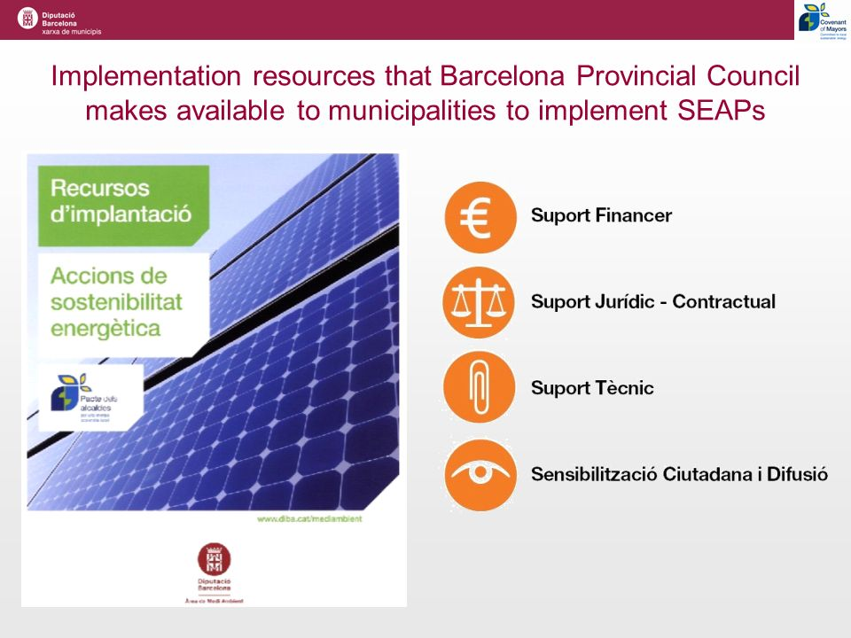 Implementation resources that Barcelona Provincial Council makes available to municipalities to implement SEAPs