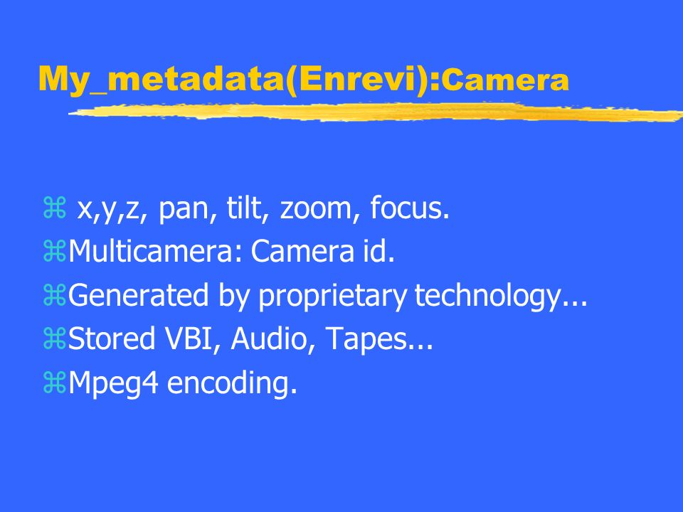My_metadata(Enrevi): Camera z x,y,z, pan, tilt, zoom, focus.