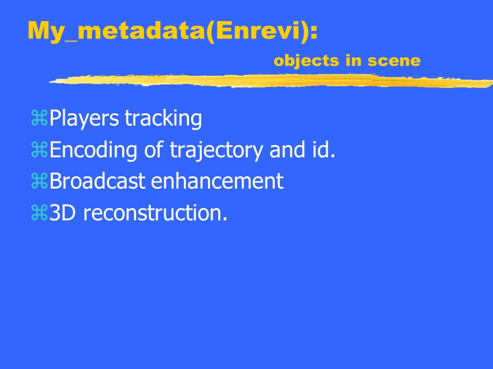 My_metadata(Enrevi): objects in scene zPlayers tracking zEncoding of trajectory and id.
