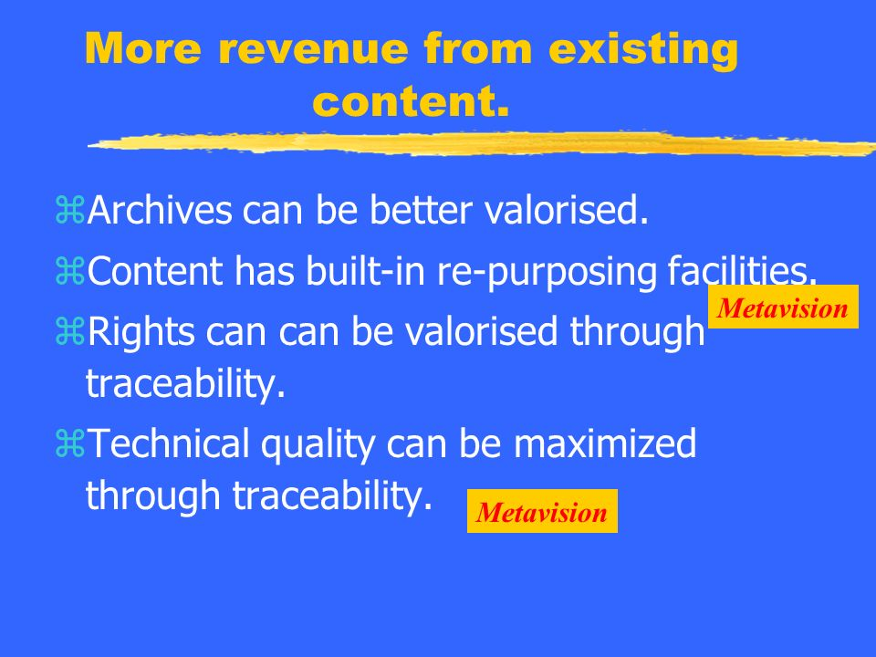 More revenue from existing content. zArchives can be better valorised.
