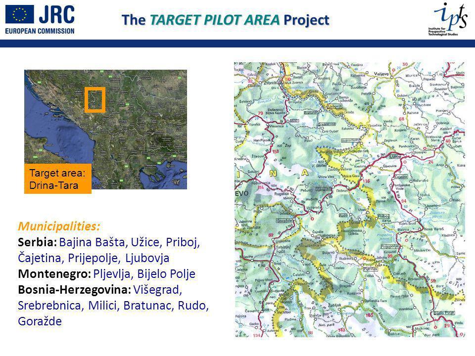 The TARGET PILOT AREA Project Target area: Drina-Tara Municipalities: Serbia: Bajina Bašta, Užice, Priboj, Čajetina, Prijepolje, Ljubovja Montenegro: Pljevlja, Bijelo Polje Bosnia-Herzegovina: Višegrad, Srebrebnica, Milici, Bratunac, Rudo, Goražde