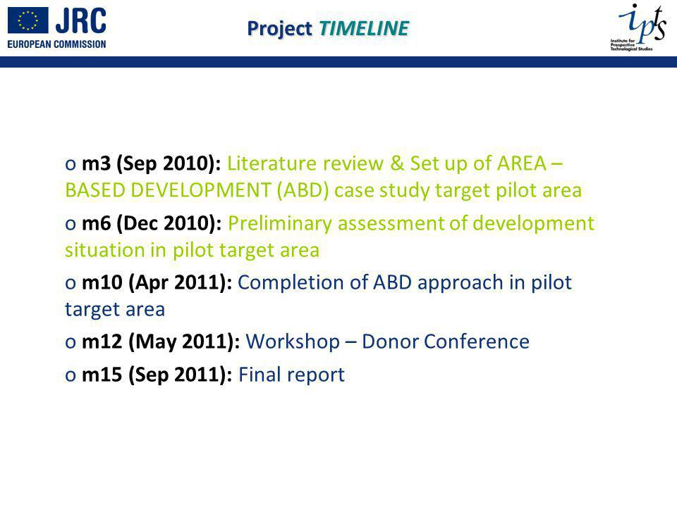o m3 (Sep 2010): Literature review & Set up of AREA – BASED DEVELOPMENT (ABD) case study target pilot area o m6 (Dec 2010): Preliminary assessment of development situation in pilot target area o m10 (Apr 2011): Completion of ABD approach in pilot target area o m12 (May 2011): Workshop – Donor Conference o m15 (Sep 2011): Final report Project TIMELINE