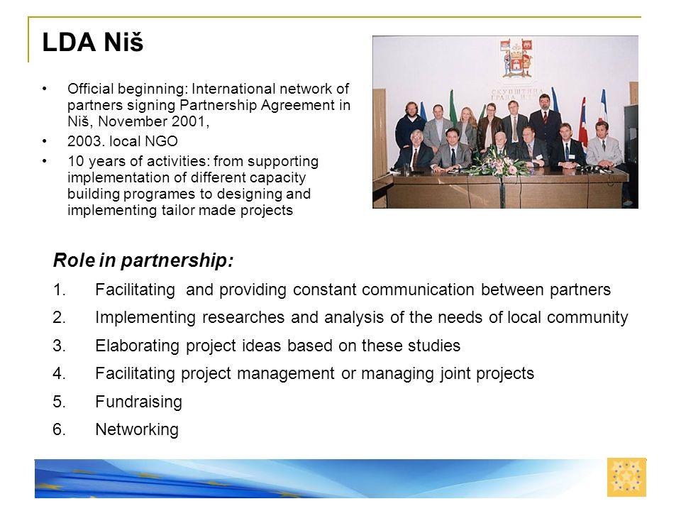 Nis, 11. septembar 2008. LDA Niš Official beginning: International network of partners signing Partnership Agreement in Niš, November 2001, 2003. loca