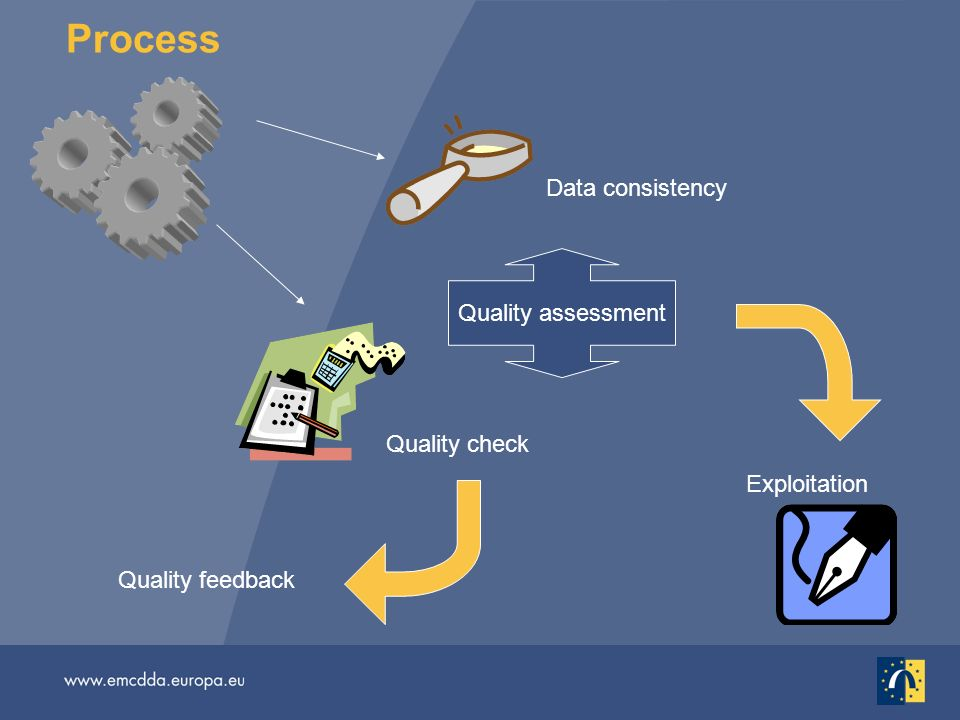 Data consistency Quality check Quality assessment Process Exploitation Quality feedback