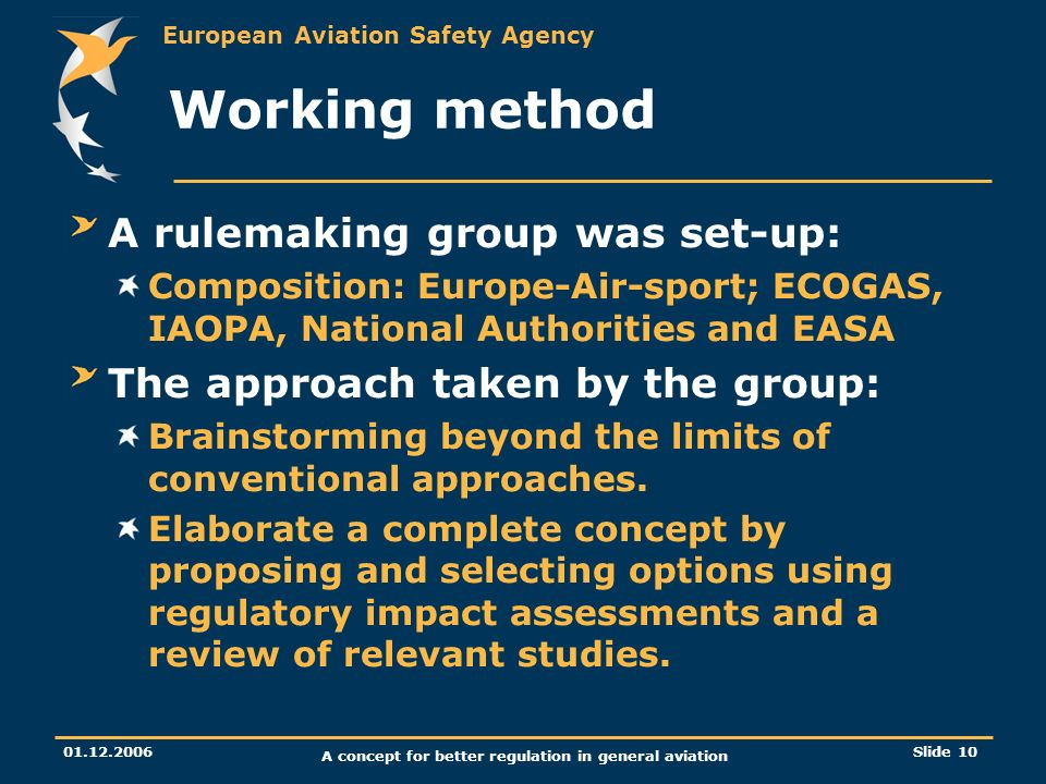 European Aviation Safety Agency 01.12.2006 A concept for better regulation in general aviation Slide 10 Working method A rulemaking group was set-up: