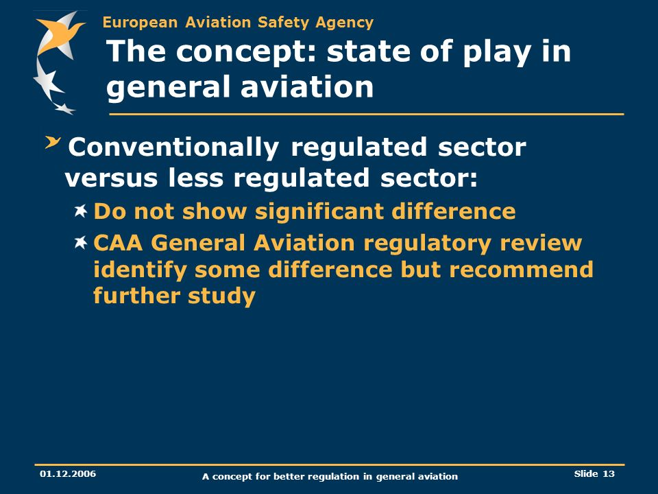 European Aviation Safety Agency 01.12.2006 A concept for better regulation in general aviation Slide 13 The concept: state of play in general aviation