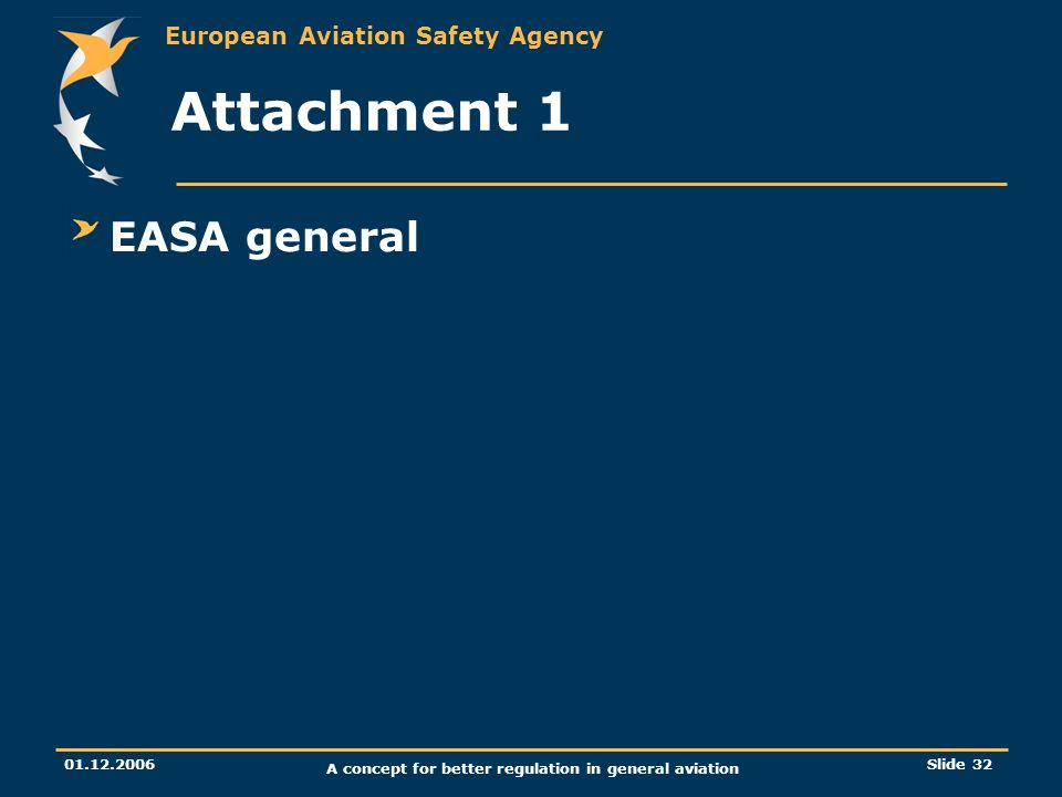 European Aviation Safety Agency 01.12.2006 A concept for better regulation in general aviation Slide 32 Attachment 1 EASA general