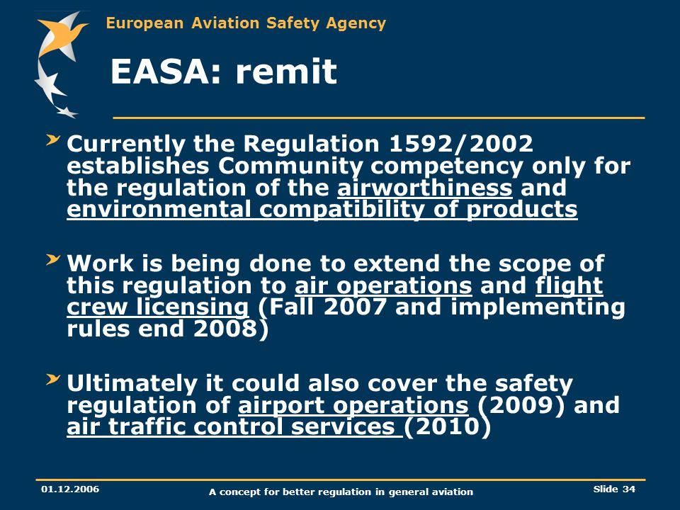 European Aviation Safety Agency 01.12.2006 A concept for better regulation in general aviation Slide 34 EASA: remit Currently the Regulation 1592/2002