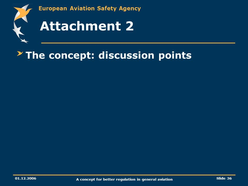 European Aviation Safety Agency 01.12.2006 A concept for better regulation in general aviation Slide 36 Attachment 2 The concept: discussion points