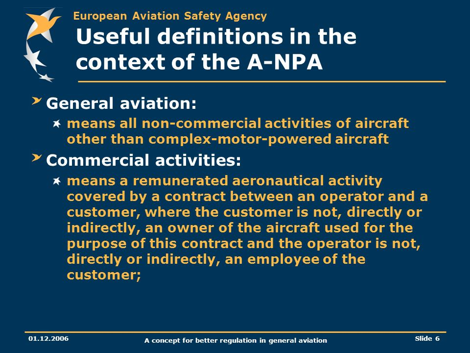 European Aviation Safety Agency 01.12.2006 A concept for better regulation in general aviation Slide 6 Useful definitions in the context of the A-NPA