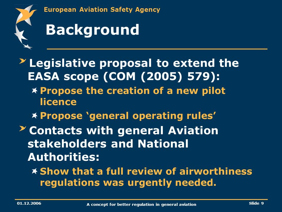 European Aviation Safety Agency 01.12.2006 A concept for better regulation in general aviation Slide 9 Background Legislative proposal to extend the E