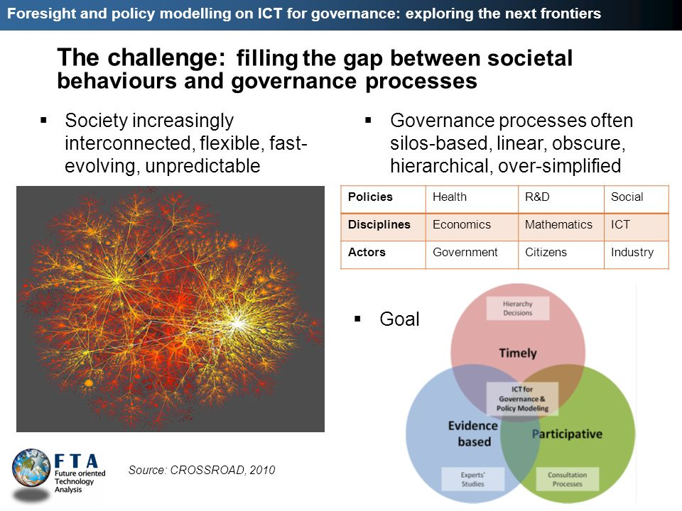 Foresight and policy modelling on ICT for governance: exploring the next frontiers The challenge: filling the gap between societal behaviours and gove