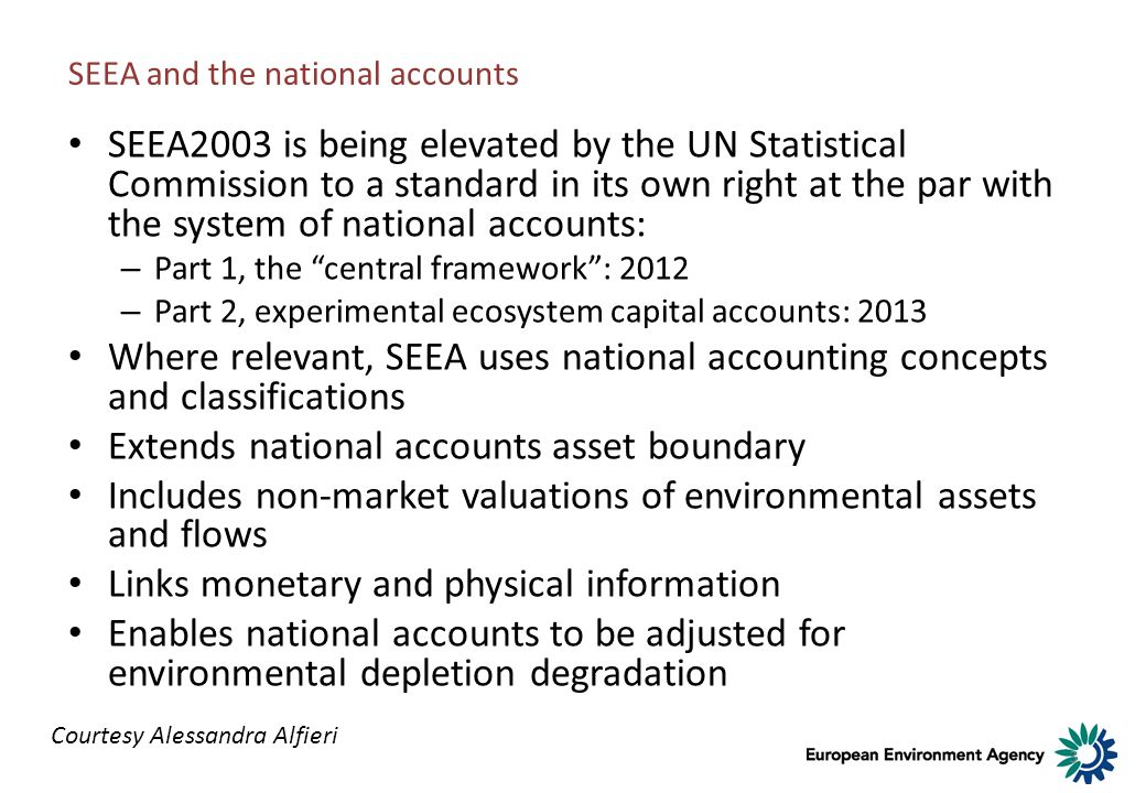 3 SEEA and the national accounts SEEA2003 is being elevated by the UN Statistical Commission to a standard in its own right at the par with the system