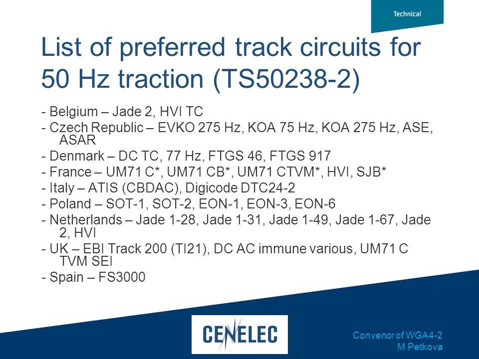 Convenor of WGA4-2 M Petkova List of preferred track circuits for 50 Hz traction (TS50238-2) - Belgium – Jade 2, HVI TC - Czech Republic – EVKO 275 Hz