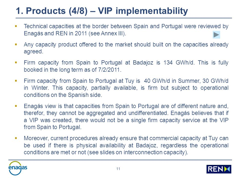 11 1. Products (4/8) – VIP implementability Technical capacities at the border between Spain and Portugal were reviewed by Enagás and REN in 2011 (see