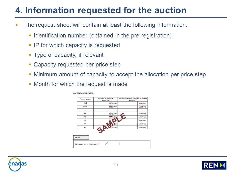 19 4. Information requested for the auction The request sheet will contain at least the following information: Identification number (obtained in the