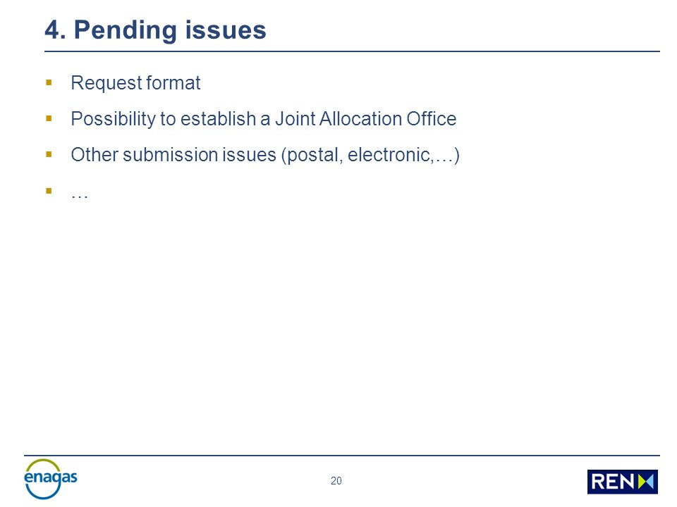 20 4. Pending issues Request format Possibility to establish a Joint Allocation Office Other submission issues (postal, electronic,…) …