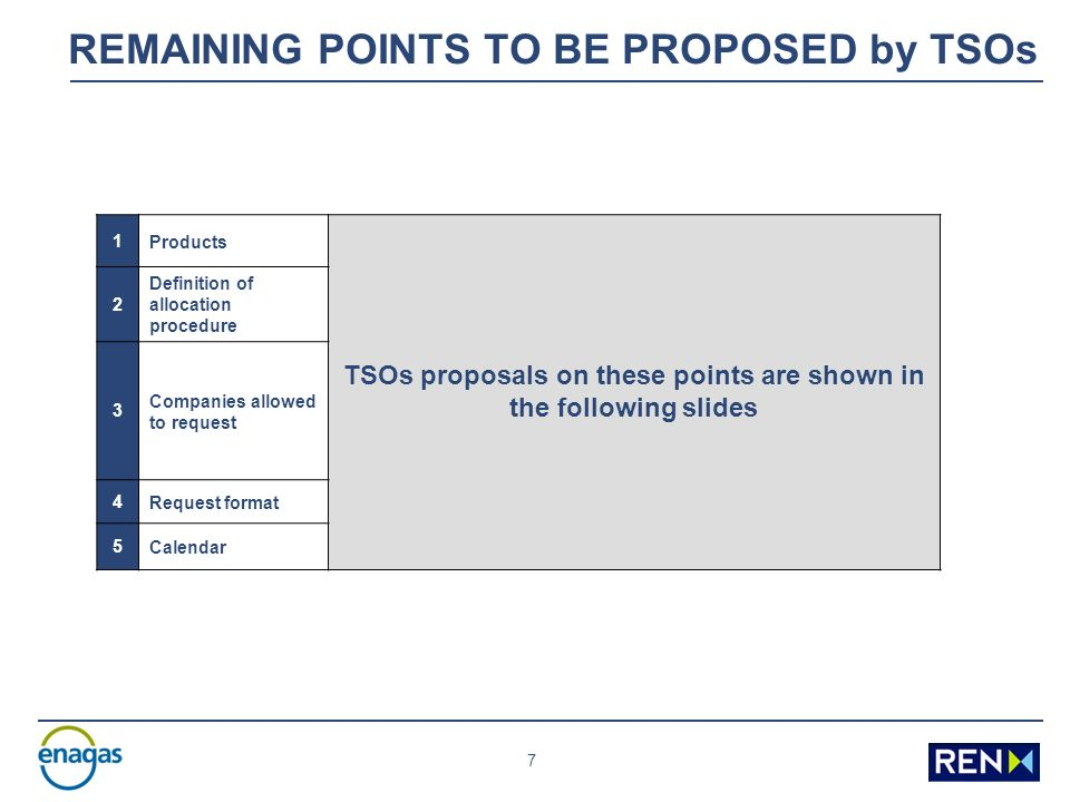 7 REMAINING POINTS TO BE PROPOSED by TSOs 1Products TSOs proposals on these points are shown in the following slides 2 Definition of allocation procedure 3 Companies allowed to request 4Request format 5Calendar