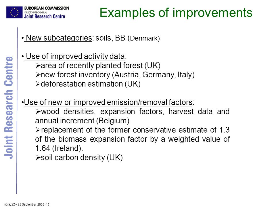 Ispra, 2 2 – 2 3 September 2005 - 15 New subcategories: soils, BB ( Denmark) Use of improved activity data: area of recently planted forest (UK) new forest inventory (Austria, Germany, Italy) deforestation estimation (UK) Use of new or improved emission/removal factors: wood densities, expansion factors, harvest data and annual increment (Belgium) replacement of the former conservative estimate of 1.3 of the biomass expansion factor by a weighted value of 1.64 (Ireland).