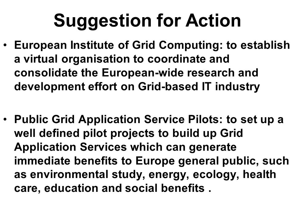 Suggestion for Action European Institute of Grid Computing: to establish a virtual organisation to coordinate and consolidate the European-wide resear
