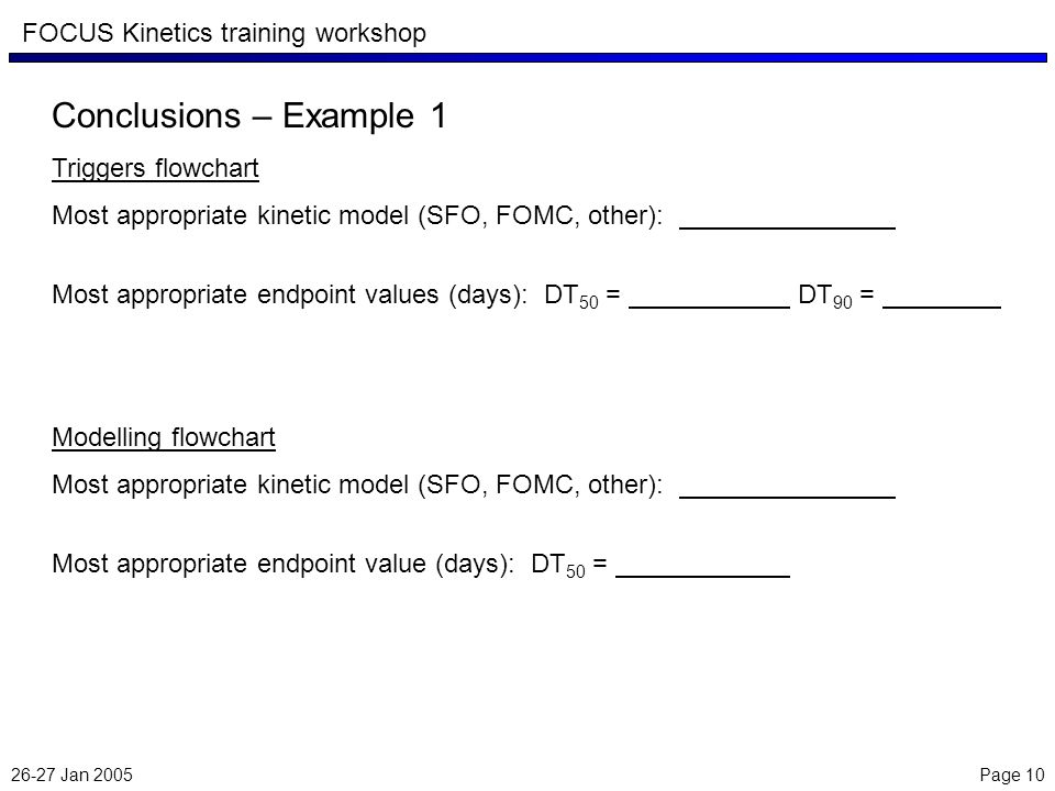 26-27 Jan 2005 Page 10 FOCUS Kinetics training workshop Conclusions – Example 1 Triggers flowchart Most appropriate kinetic model (SFO, FOMC, other):