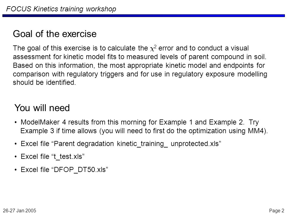 26-27 Jan 2005 Page 3 FOCUS Kinetics training workshop In the interest of time, we will not iteratively modify the fitting routines (e.g.