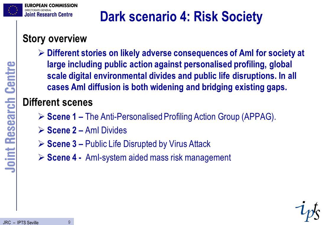 10 JRC – IPTS Seville Contents of Dark scenarios DarkScen1DarkScen2DarkScen3DarkScen4 Technologies/ Devices Embedded tags; home sensors; biometrics; personal wrist communicator Sensors / actuators; interfaces; comms; Health monitoring devices.