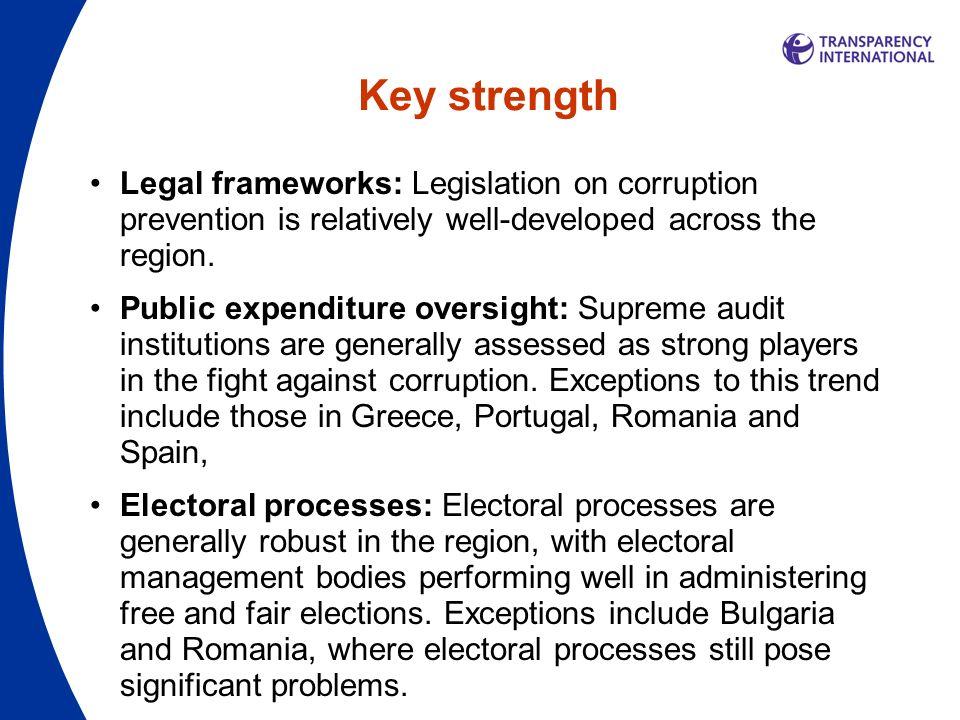 Key strength Legal frameworks: Legislation on corruption prevention is relatively well-developed across the region.