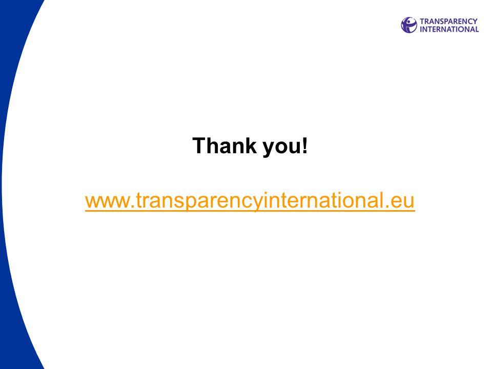 Thank you! www.transparencyinternational.eu