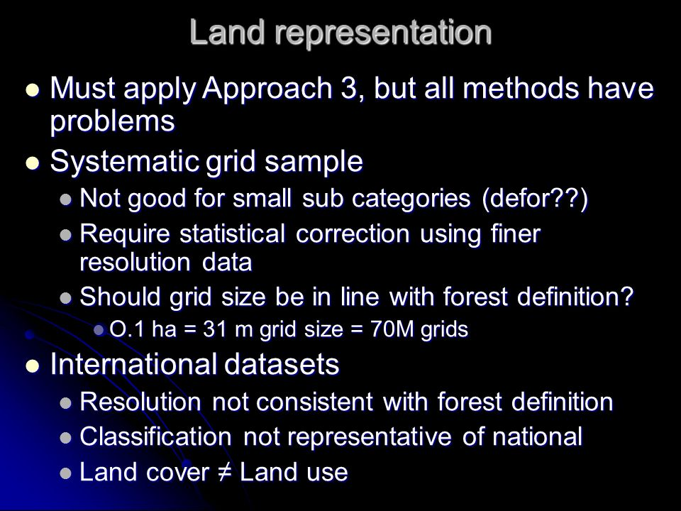 Land representation Must apply Approach 3, but all methods have problems Must apply Approach 3, but all methods have problems Systematic grid sample S