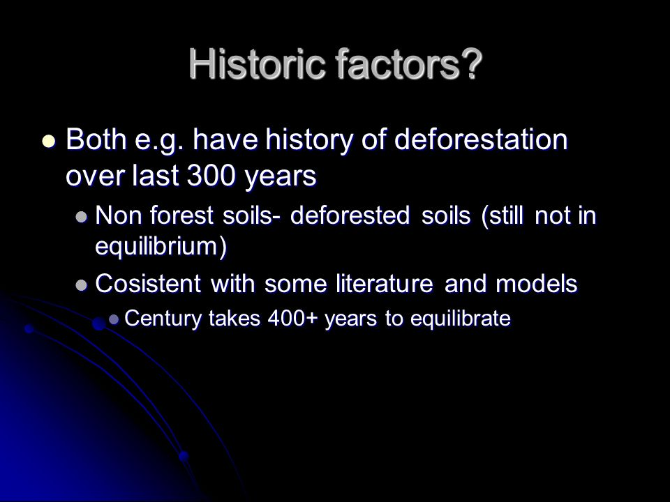 Historic factors? Both e.g. have history of deforestation over last 300 years Both e.g. have history of deforestation over last 300 years Non forest s