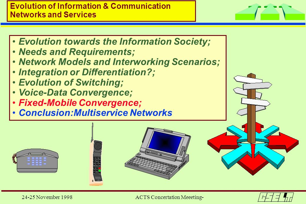24-25 November 1998 ACTS Concertation Meeeting- Evolution towards the Information Society; Needs and Requirements; Network Models and Interworking Sce