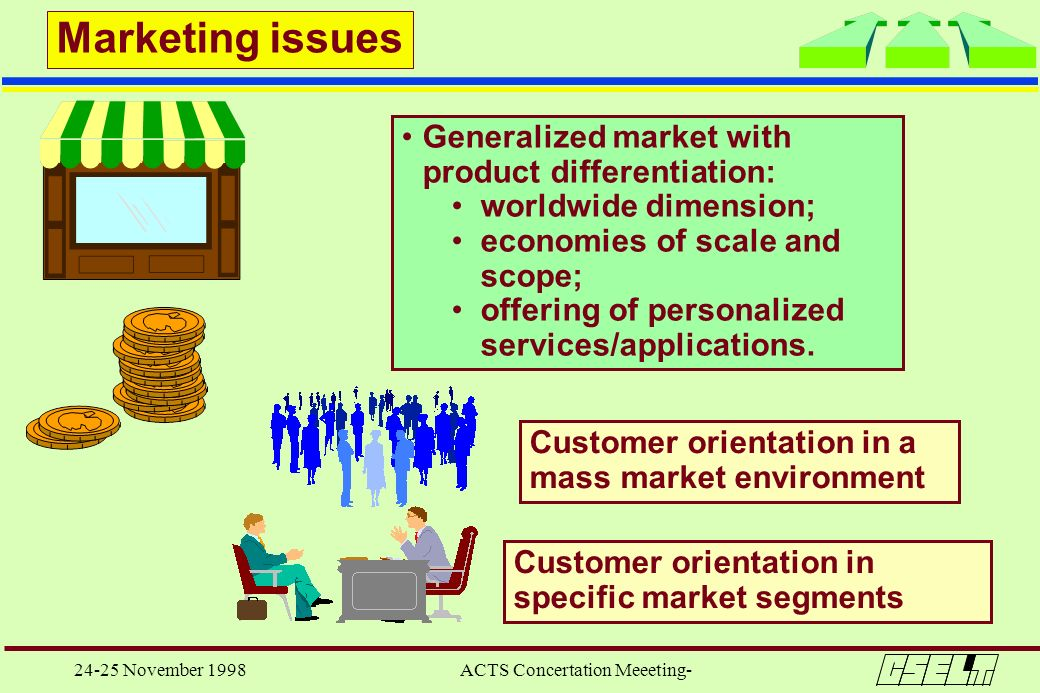 24-25 November 1998 ACTS Concertation Meeeting- Marketing issues Generalized market with product differentiation: worldwide dimension; economies of sc
