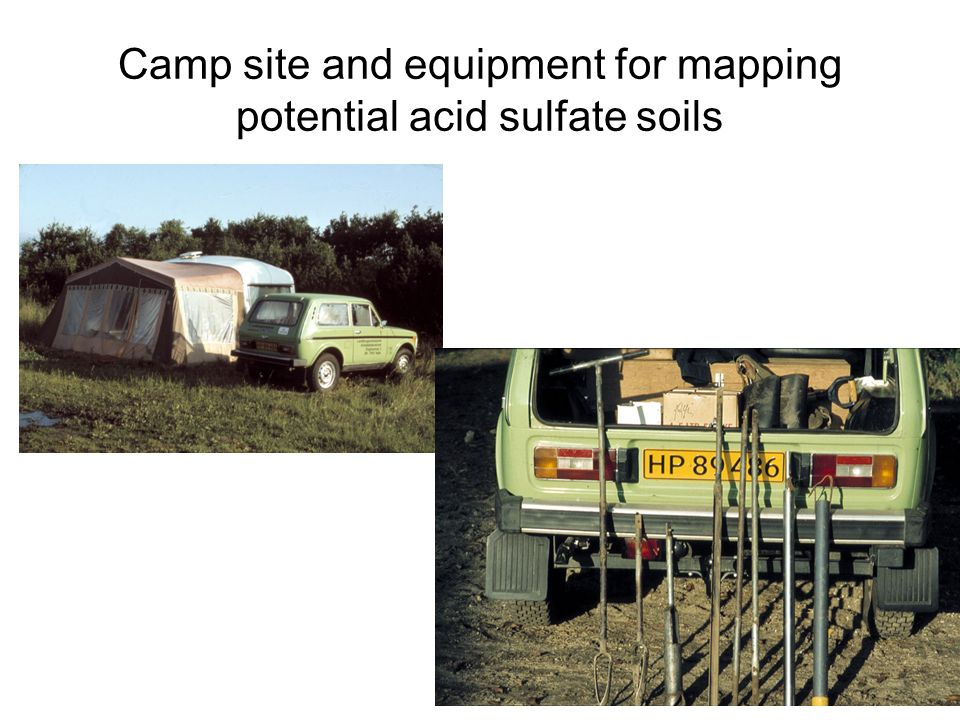 Camp site and equipment for mapping potential acid sulfate soils