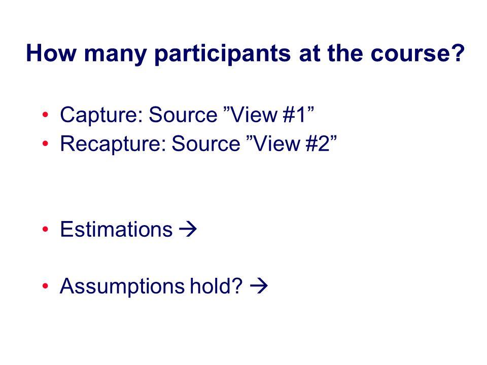 How many participants at the course? Capture: Source View #1 Recapture: Source View #2 Estimations Assumptions hold?