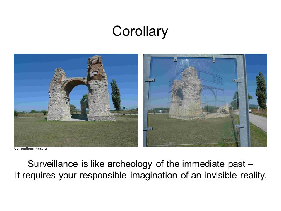 Surveillance is like archeology of the immediate past – It requires your responsible imagination of an invisible reality. Carnunthum, Austria Corollar