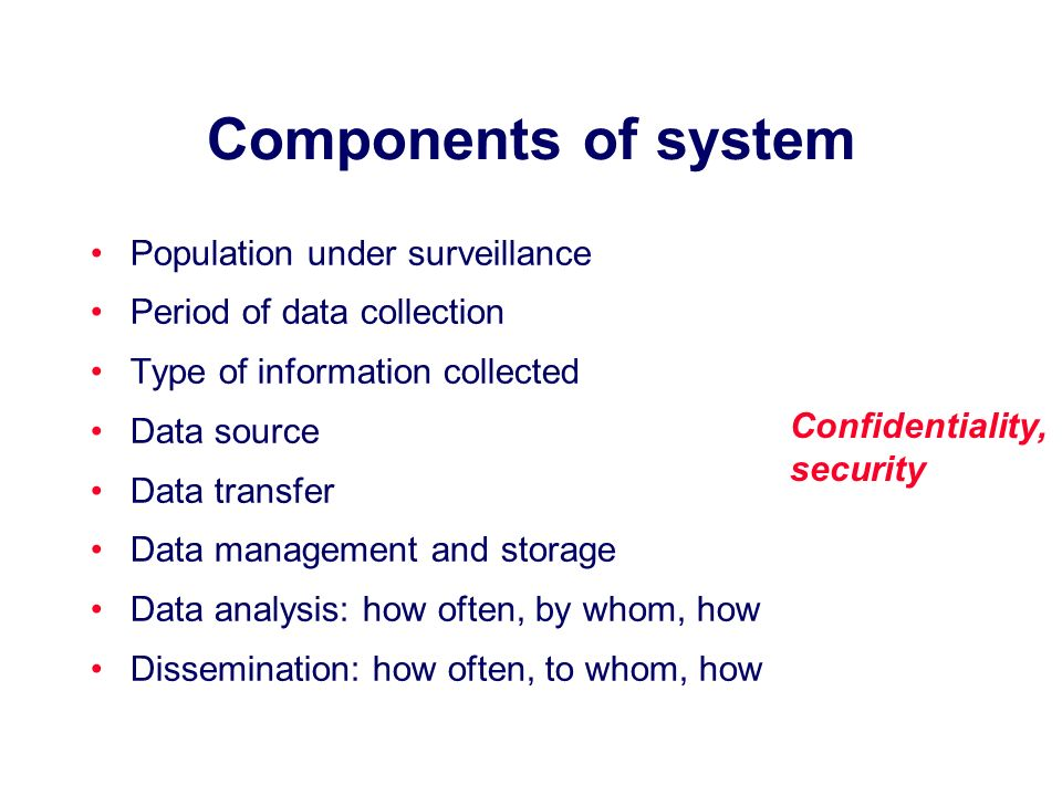 Components of system Population under surveillance Period of data collection Type of information collected Data source Data transfer Data management and storage Data analysis: how often, by whom, how Dissemination: how often, to whom, how Confidentiality, security