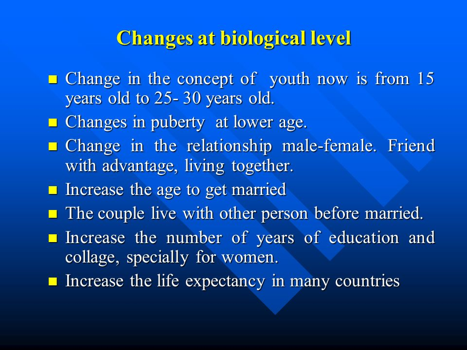 Changes at biological level n Change in the concept of youth now is from 15 years old to years old.