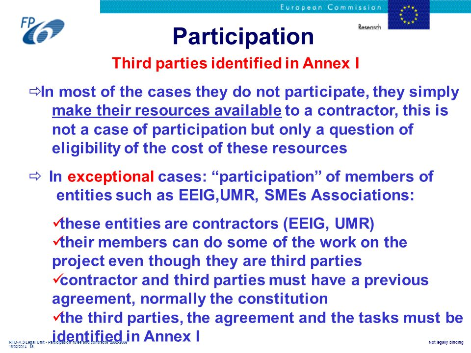 RTD-A.3 Legal Unit - Participation rules and contracts 2002-2006 16/02/2014 15 Not legally binding Participation Third parties identified in Annex I I