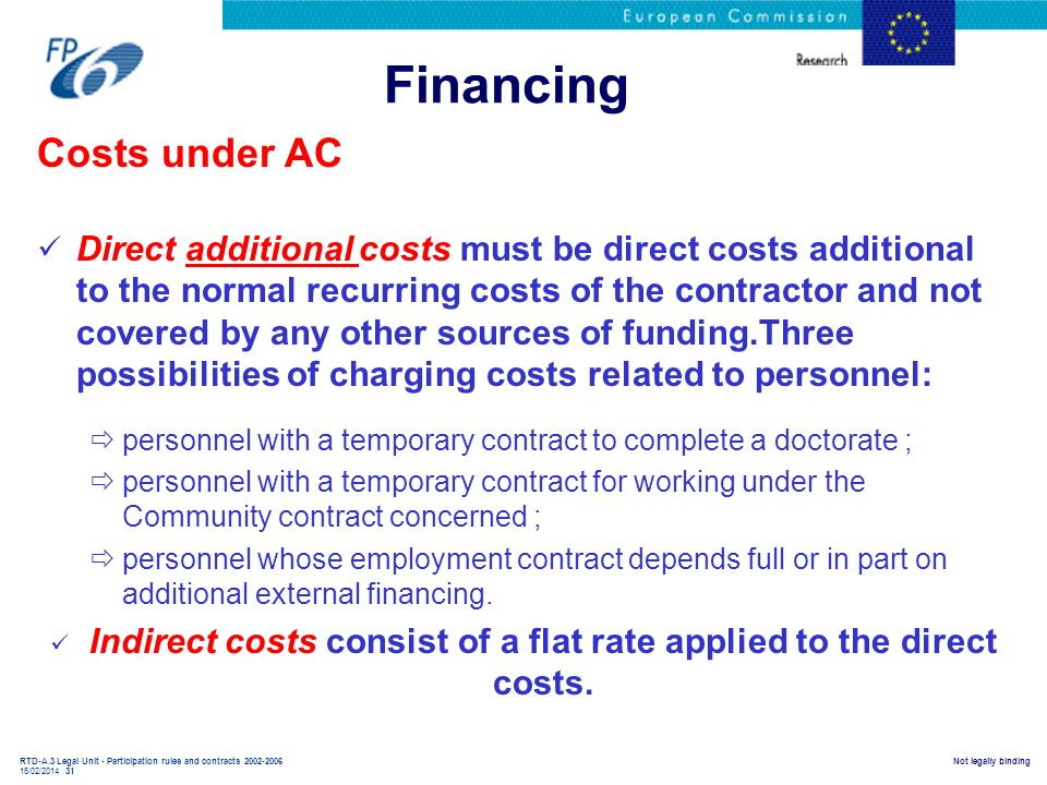 RTD-A.3 Legal Unit - Participation rules and contracts 2002-2006 16/02/2014 31 Not legally binding Financing Costs under AC Direct additional costs mu