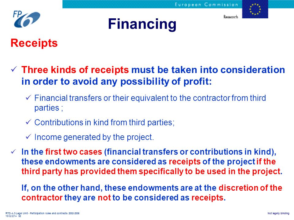 RTD-A.3 Legal Unit - Participation rules and contracts 2002-2006 16/02/2014 32 Not legally binding Financing Receipts Three kinds of receipts must be