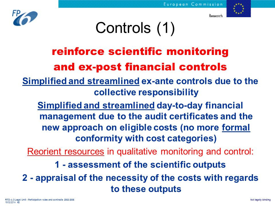 RTD-A.3 Legal Unit - Participation rules and contracts 2002-2006 16/02/2014 42 Not legally binding Controls (1) reinforce scientific monitoring and ex