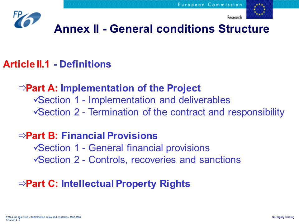 RTD-A.3 Legal Unit - Participation rules and contracts 2002-2006 16/02/2014 8 Not legally binding Annex II - General conditions Structure Article II.1