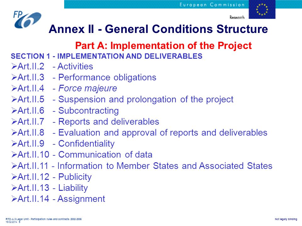RTD-A.3 Legal Unit - Participation rules and contracts 2002-2006 16/02/2014 9 Not legally binding Annex II - General Conditions Structure Part A: Impl